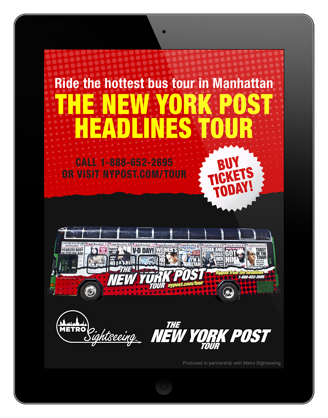 Bus tour iPad ad