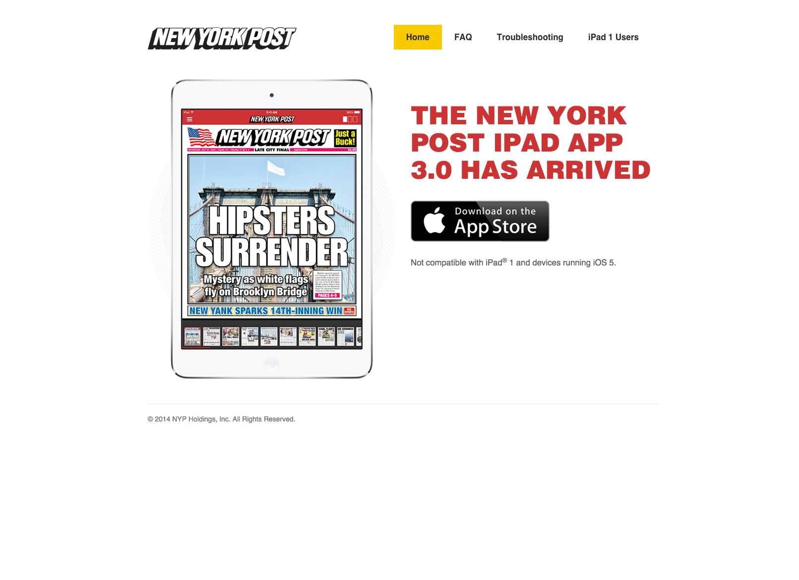 NYP iPad app   Home