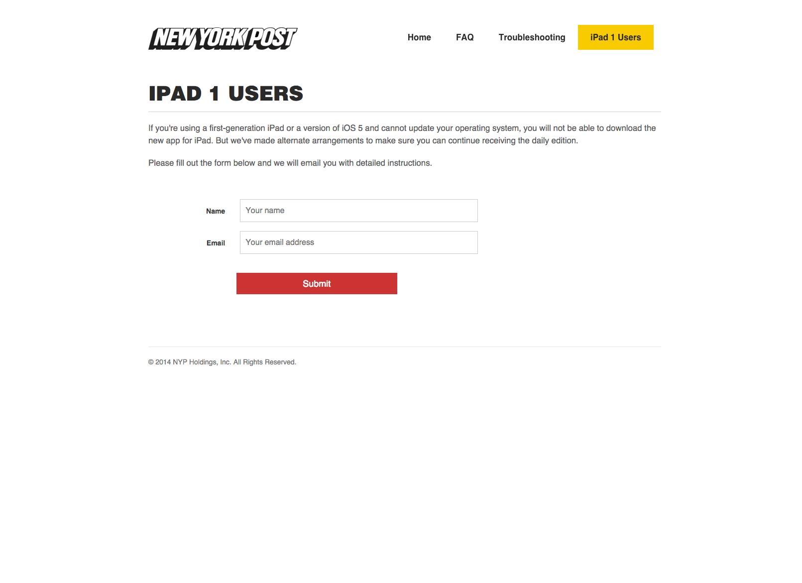 NYP iPad app   iPad 1 users