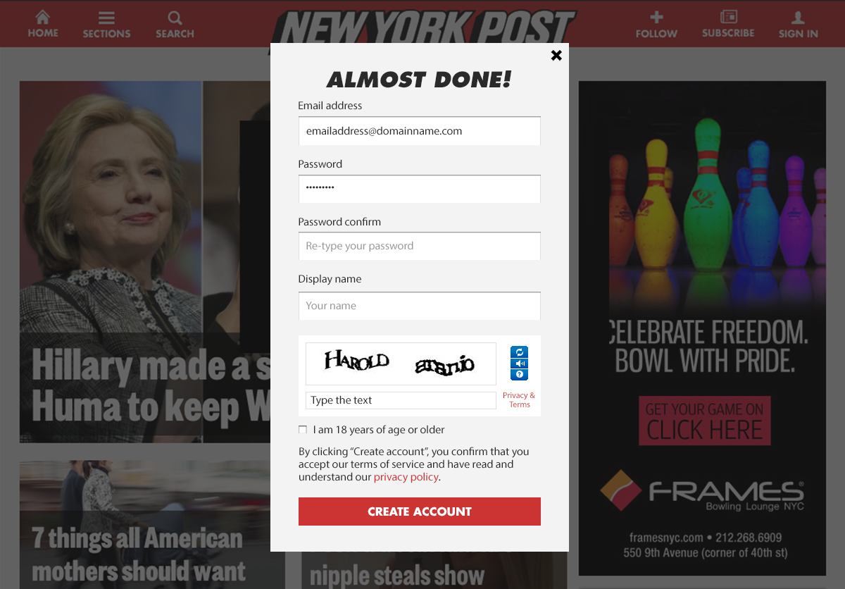 Unified Sign up form design for NYPost Network – Orangeadnan